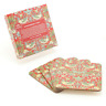 William Morris Set 4 Coasters Red Strawberry Thief Tapestry