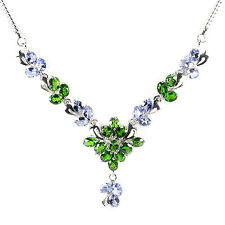 Sterling Silver 925 Natural Chrome Diopside & Tanzanite Necklace 17.75 Inch