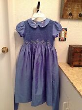FLOWER GIRL/EASTER silk blue Smocked dress 6y