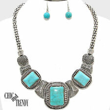 WESTERN TURQUOISE HOWLITE WEAR ANYWHERE CHUNKY FASHION NECKLACE JEWELRY SET