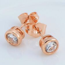 Pretty New Gold / Rose Gold Filled Clear 6mm Bezel Set CZ Post Stud Earrings