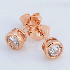 Pretty New Gold / Rose Gold Filled Clear 6mm Bezel Set CZ Post Stud Earrings