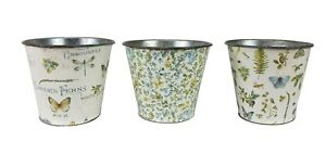 Set of 3 Small Floral Metal Planters Flowers & Succulents Indoor Outdoor Decor
