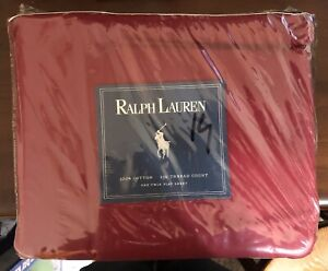 Ralph Lauren One Dark Red Twin Flat Sheet 100% Cotton 250 Thread Count NIP