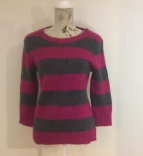 FOREVER 21 - Women's Pink & Grey Striped Jumper - Size L - Knit