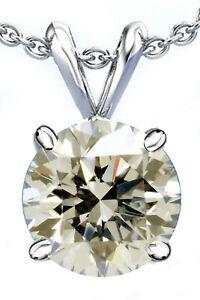 2.05 Ct VVS1;Near White Round Moissanite Diamond Solitaire Silver Pendant