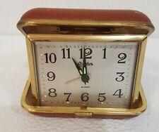 Clock Working Vintage Linden Windup Travel Alarm Clock Hard Brown Leather Case