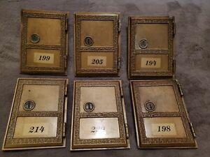 VINTAGE MATCHING LOT OF 6 SALSBURY INDUSTRIES MAILBOX ~ BRASS MAILBOX DOORS