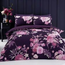 FLORA DOUBLE DUVET COVER SET REVERSIBLE PURPLE BEDDING FLOWERS