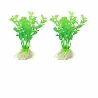 """2 Pcs Aquarium Fish Tank 3.7"""" Height Green Plastic Aquatic Plant Grass"""