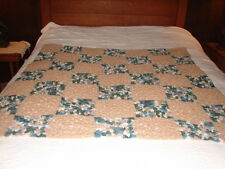 New Granny Square Handcrafted Crochet Afghan Throw Blanket beige and blues