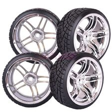 6mm Offset 4PCS RC 1:10 On-Road Drift Car Tyres Tires Wheel Rim silver 2045-6013