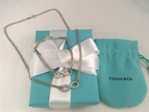 Tiffany & Co Silver Double Chain Infinity Necklace & Bracelet Set RRP $935