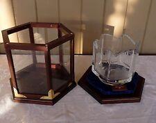 Kosta Boda - 1978 - Crystal Historic Tall SHIPS BOWL Wooden & Glass Display Case