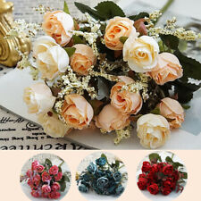 1 Bunch Artificial Rose Flowers Romantic Fake Silk Floral for Wedding Decoration