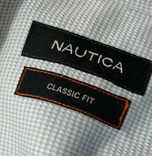 Nautica Men's Blue Pincheck Classic Fit Button Dress Shirt - 16 32/33 - B702ae
