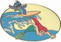 Disney Pin 34322 DA Auctions P.I.N.S.Stitch Ariel Surfing Little Mermaid LE 500
