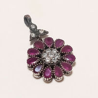 4.90Gm Ruby cut Stone Two Ton Pendants Gemstone 925 Solid Sterling Silver I-2728