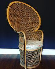 Art Deco High Fan Back Rattan Peacock Chair