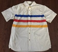 Woolrich Striped Archive Polo, Off White With  Stripes, Size Large, New