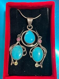 Sterling Silver Turquoise Pendant with Turquoise, Peridot & Tourmaline Earrings