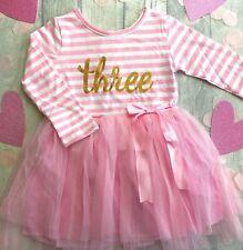 3RD BIRTHDAY PRINCESS TUTU, Pink Striped Long sleeve Tutu Party Dress Gold Three