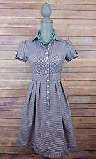 Nanette Lepore Dress Size 2 Blue Collared Fit Flare Stripe Cap Sleeve Cotton