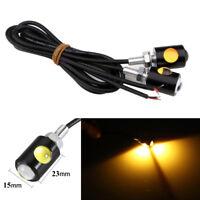 2 Pcs Amber COB LED Motorcycle & Car License Plate Screw Bolt Light lamp Yellow