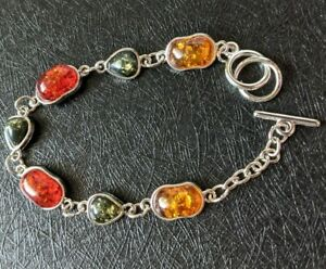 "Bracelet Women's Multicolor Baltic Amber Silver metal 7"" NEW"