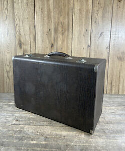 Vintage 1940's Wooden Crocodile Effect Steamer Suitcase Luggage Trunk.