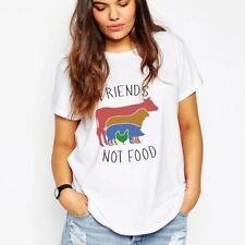 VEGAN T-Shirt Friends Not Food White Rainbow Cow