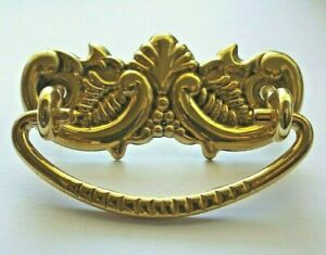 """Antique Reproduction VICTORIAN Stamped Brass DRESSER PULL Handle NEW 2"""" Centers"""
