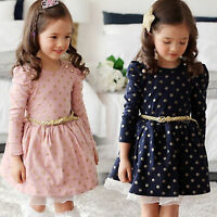 Kids Toddler Girls Clothing Polka Dot Lace Princess Dress Long Sleeve Tutu Skirt