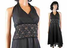 NWT Halter Dress 14P L Black Beige Chiffon Lace Cocktail Gown Connected NEW
