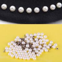 0X Wachsperlen mit Metallniet 6mm Perlweiß Weiß Perlen Tischdeko DIY Dekor