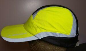 Brooks Fluorescent Yellow Reflective Running Hat Blinking Light Cap Cool Dry