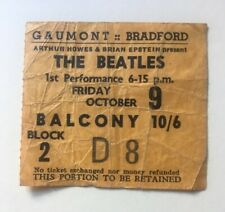 Beatles October 1964 Bradford UK Concert Ticket Original Rare