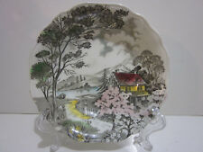 "Antique Dessert Dish English Staffordshire Porcelain, ""Welcome Home"" J&G Meakin"