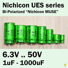 "Nichicon UES Bi-Polarized (Bipolar) ""MUSE"" 6.3V-50V 1uF-1000uF Audio Capacitors"