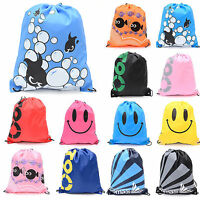 Unisex Kid School Drawstring Book Bag Sports Gyms Sack Swim PE Kit Shoe Backpack