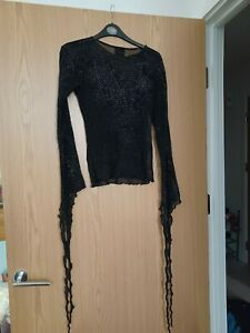 Gothic Halloween sparkly cobweb top by Omen, one size, sheer material