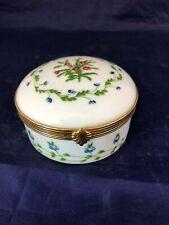 Limoges France A. Raynaud et Cie Hinged Porcelain Trinket Box Spring Bouquet