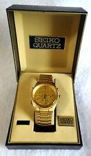 Vintage Seiko Quartz Chronograph Watch 7T32-7A49 Goldtone Tachymeter Orig Box