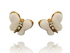 Gold & White Small Butterflies Shells Studs Bridal Women Girl Earrings E207