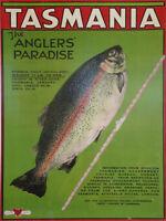 Vintage print art poster canvas TASMANIA anglers paradise fishing painting