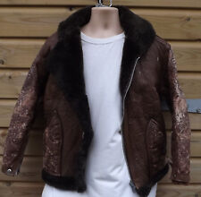 Autentico Vintage Brown in pelle di pecora B3 Flying/Bomber Jacket-M-Clix ZIP