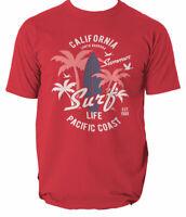 Shirt T California Surf Beach Surfing Mens Top Unisex Tshirt Tee Retro S-3XL