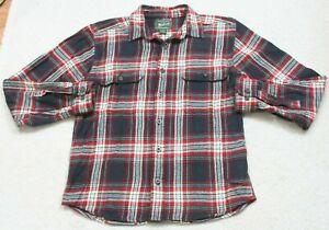 Woolrich Flannel Two Pocket Dress Shirt Cotton Long Sleeve Size Medium Mans Mens