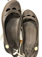 Crocs Womens Cut Out Sling Back Flat Ballet Slip On Sandals/shoes Brown 11W, NWT