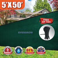 Green 5'x50' High Fence Windscreen Privacy Screen Shade Cover Mesh Fabric Tarp